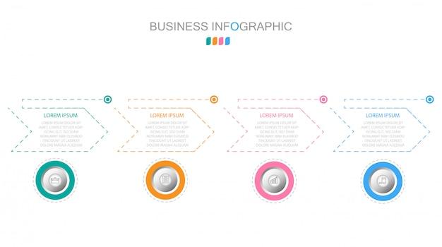 Koncepcja biznesowa z 4 opcjami, krokami lub procesami