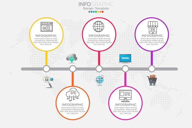 Koncepcja biznesowa z opcjami, krokami lub procesami. plansza szablon