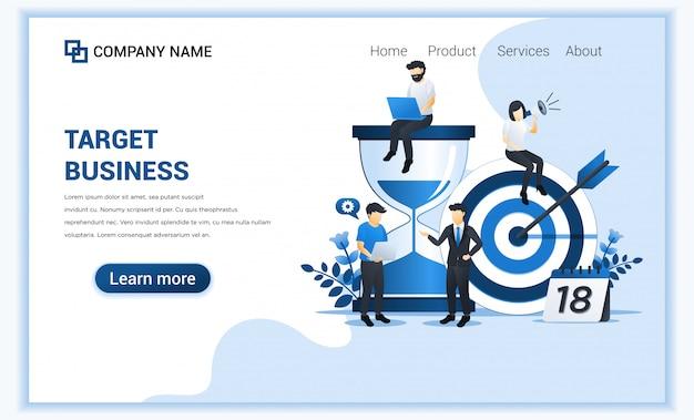 Koncepcja biznesowa z postaciami. cel biznesowy, osiągnięcie celu, przywództwo, partnerstwo.