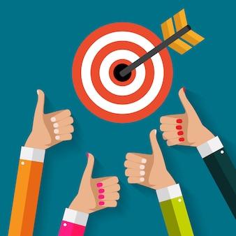 Koncepcja biznesowa z ręki biznesmen trzymać cel ze strzałką w nowoczesnym stylu płaski. ilustracji wektorowych