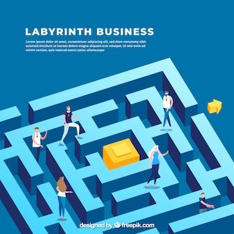 Koncepcja biznesowa z widokiem izometrycznym labiryntu