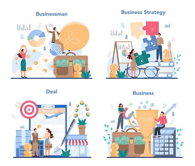 Koncepcja biznesowa zestaw ilustracji