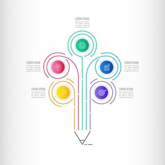 Koncepcja biznesu infographic oś czasu z 5 opcji.