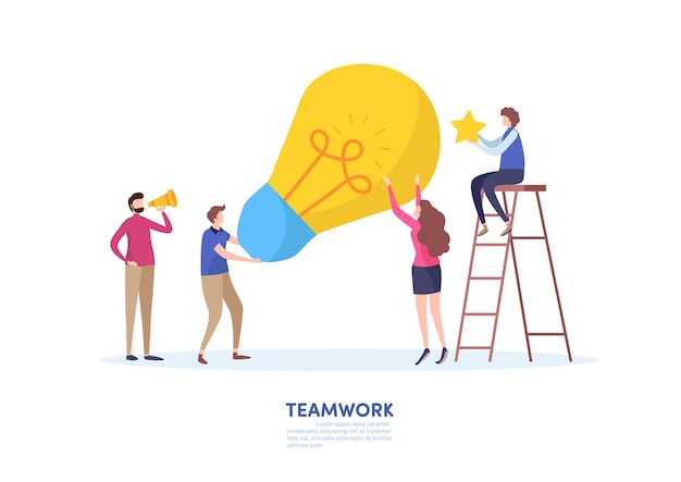 Koncepcja biznesu sukces pracy zespołowej.