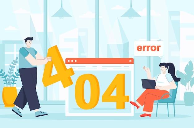 Koncepcja błędu strony 404 w płaskiej konstrukcji ilustracji postaci osób na stronie docelowej