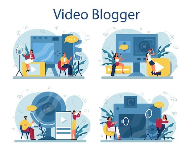 Koncepcja blogera wideo. udostępniaj treści w internecie. idea mediów społecznościowych i sieci. komunikacja przez internet.