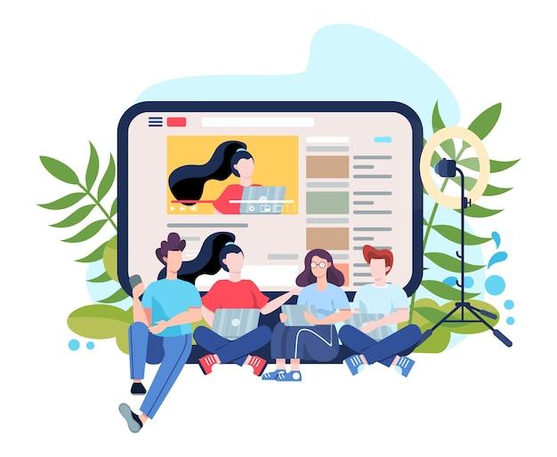 Koncepcja bloggera. udostępniaj i oglądaj treści w internecie. idea mediów społecznościowych i sieci. komunikacja przez internet. ilustracja