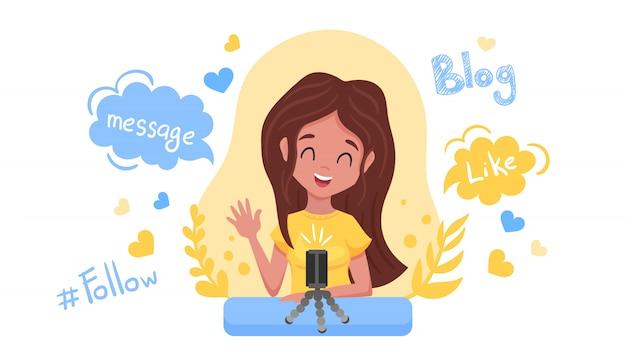 Koncepcja blogowania i vlogowania. śliczna śmieszna dziewczyna tworzy treści i publikuje je w mediach społecznościowych, blogach lub vlogach. uśmiechnięta kobieta z smartphone odizolowywającym na białym tle. płaska ilustracja