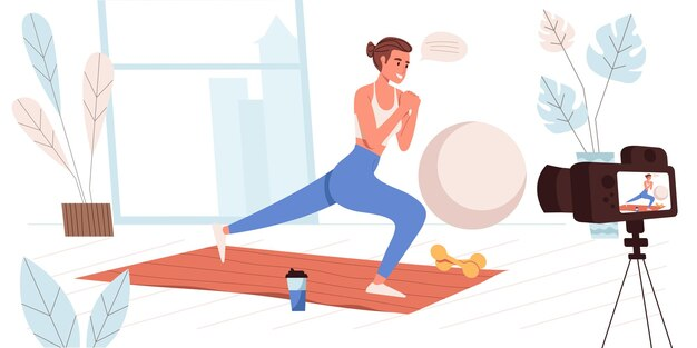 Koncepcja blogowania w płaskiej konstrukcji. blogger rejestruje trening w domu. trener fitness wykonujący ćwiczenia i streamujący na blogu. tworzenie treści wideo, scena ludzi w sieciach społecznościowych. ilustracja wektorowa