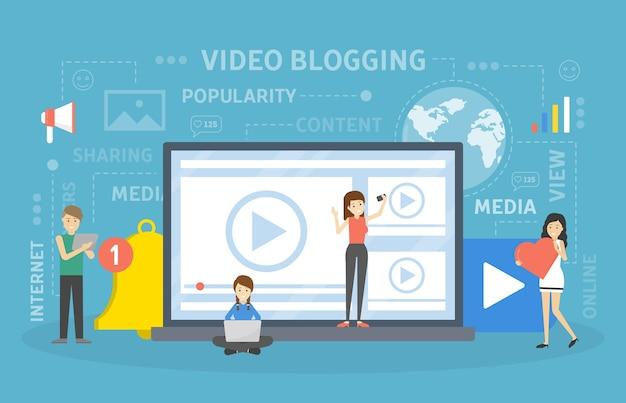 Koncepcja blogowania wideo. idea kreatywności i treści.