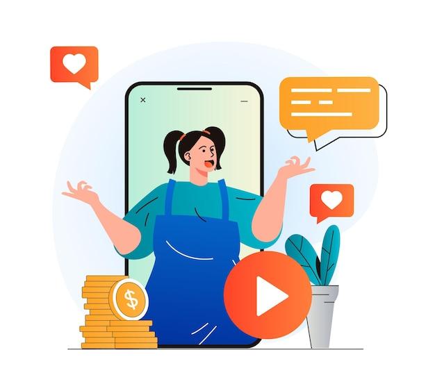 Koncepcja blogowania wideo w nowoczesnej płaskiej konstrukcji kobieta blogerka w klipie wideo w aplikacji mobilnej