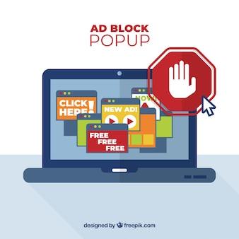 Koncepcja bloku reklamowego z płaską konstrukcją