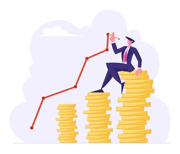 Koncepcja bogactwa pieniędzy, ilustracja płaski