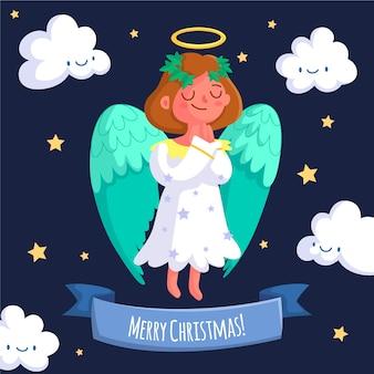 Koncepcja bożego narodzenia anioł w płaskiej konstrukcji
