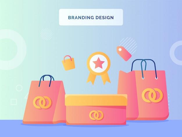 Koncepcja brandingu torby na zakupy z tłem logo marki certyfikowanej ikony etykiety płaski styl.