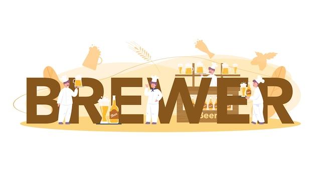 Koncepcja browar lub piwo koncepcja typograficznego nagłówka. produkcja piwa rzemieślniczego, proces warzenia piwa. beczkowy zbiornik na piwo, kubek vintage i butelka pełna napoju alkoholowego. ilustracja na białym tle wektor