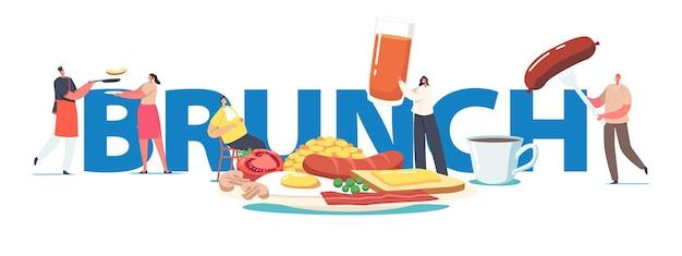 Koncepcja brunchu. małe postacie na ogromnym talerzu z angielskim pełnym bekonem śniadaniowym, kiełbaskami z jajkiem sadzonym, tostem z plakatem z roztopionym masłem, banerem, ulotką. ilustracja wektorowa kreskówka ludzie