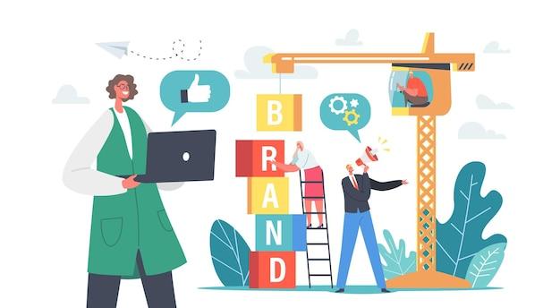 Koncepcja budowania marki. postacie biznesowe praca na dźwigu tworzenie tożsamości korporacyjnej, rozwój osobowości firmy. zarządzanie reputacją, wytyczne dotyczące komunikacji. ilustracja wektorowa kreskówka ludzie