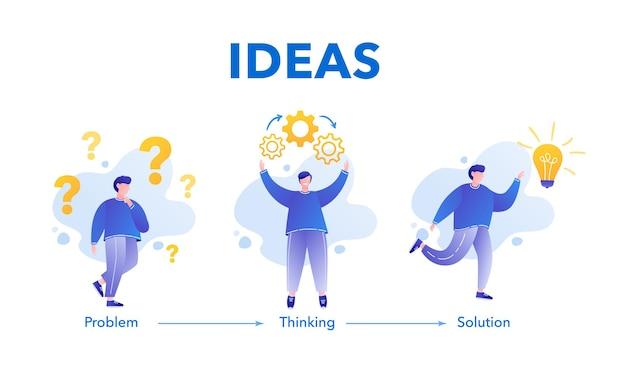 Koncepcja burzy mózgów biznesmen rozwiązujący problem pomysły generatora
