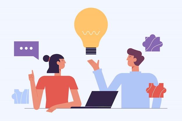 Koncepcja burzy mózgów. kreatywni ludzie. pomysł na współpracę z laptopem. udany zespół w coworking space developing project. ilustracja kreskówka płaski partnerstwa