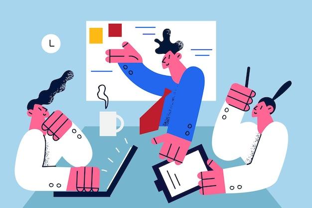 Koncepcja burzy mózgów strategii biznesowej pracy zespołowej