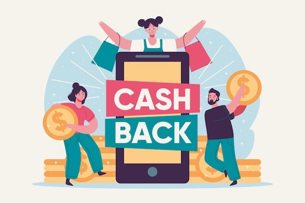 Koncepcja cashback z ludźmi i monetami