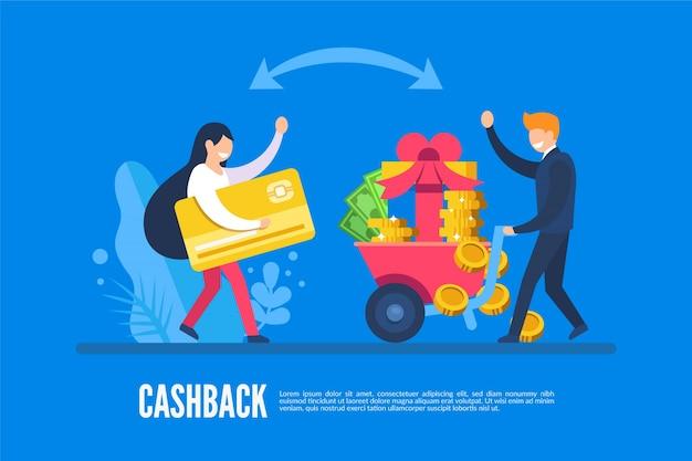 Koncepcja cashback z ludźmi i pieniędzmi