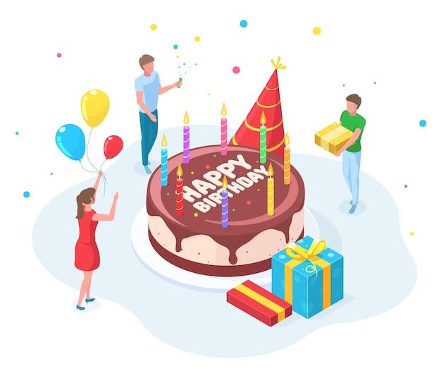 Koncepcja celebracja osób izometryczny szczęśliwy urodziny party. znaki z okazji urodzin, pogratulować ilustracji wektorowych urodziny osoby. izometryczne przyjęcie z okazji urodzin