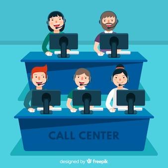 Koncepcja centrum agenta call w stylu płaski
