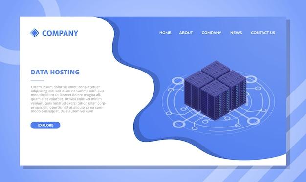 Koncepcja centrum danych hostingu danych dla szablonu strony internetowej lub strony docelowej z wektorem w stylu izometrycznym