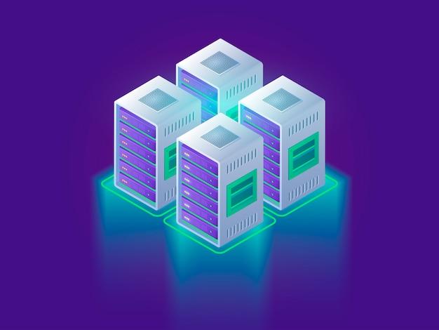 Koncepcja centrum danych i przetwarzania w chmurze. projekt strony internetowej dla strony internetowej. technologii obłoczna 3d isometric ilustracja