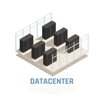Koncepcja centrum danych z bazą danych serwera i izometrycznymi symbolami obliczeniowymi
