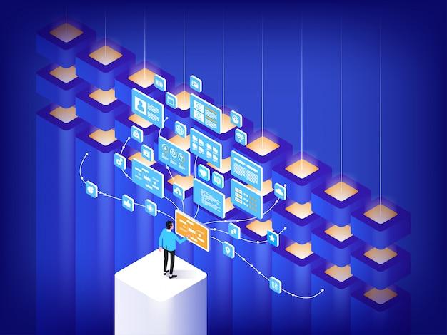 Koncepcja centrum danych. zaawansowana technologia.