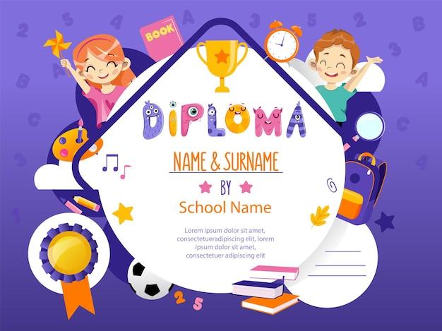 Koncepcja ceremonii powrót do szkoły i nagrody. piękny szablon dyplomu przedszkola z dwoma uśmiechniętymi szczęśliwymi uczniami chłopiec i dziewczynka z przyborów szkolnych. płaski styl kreskówki. ilustracji wektorowych.