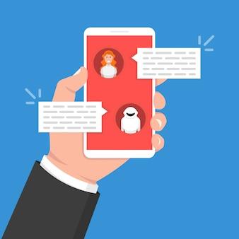 Koncepcja chatbot. kobieta na czacie z botem czatu na smartfonie
