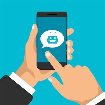 Koncepcja chatbota. rozmowa między robotem a człowiekiem. smartfon z awatarem robota. nowoczesny wygląd dymków i okien dialogowych.