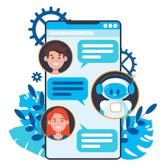 Koncepcja chatbota. użytkownicy rozmawiający z uroczym robotem czatowym na smartfonie.