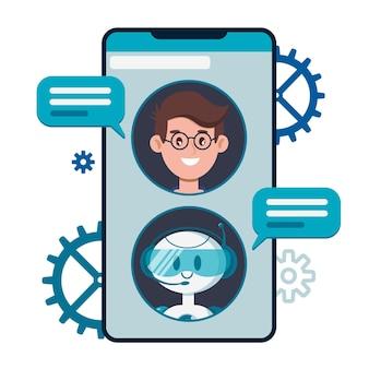 Koncepcja chatbota. użytkownicy rozmawiający z uroczym robotem czatującym na smartfonie.