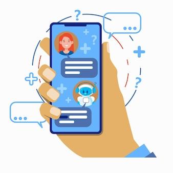Koncepcja chatbota. użytkownik rozmawiający z aplikacją mobilną robota chat bota na smartfonie.