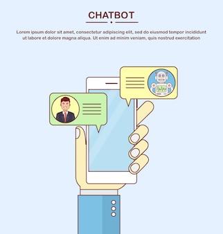 Koncepcja chatbota. użytkownik rozmawiający z botem czatu na smartfonie