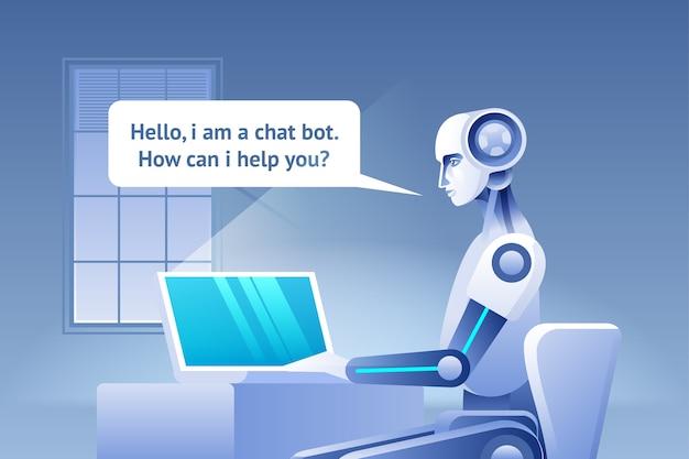 Koncepcja chatbota. wirtualna pomoc strony internetowej lub aplikacji mobilnych, koncepcja sztucznej inteligencji. ilustracja