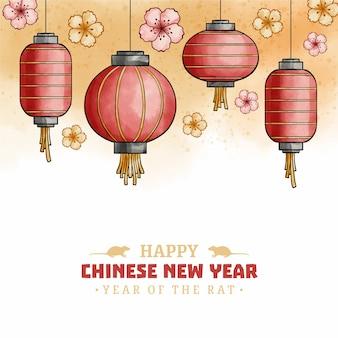 Koncepcja chińskiego nowego roku w akwareli