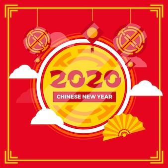 Koncepcja chińskiego nowego roku w płaskiej konstrukcji