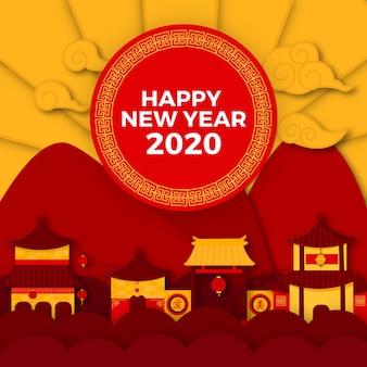 Koncepcja chińskiego nowego roku w stylu papieru