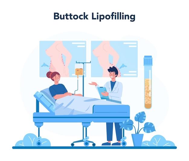 Koncepcja chirurga plastycznego. idea korekcji ciała i twarzy. lipofilling pośladków.