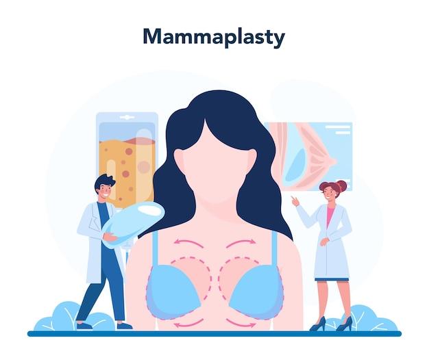 Koncepcja chirurga plastycznego. idea korekcji ciała i twarzy.