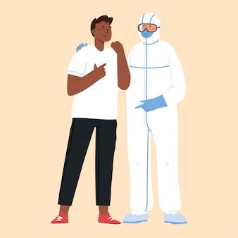 Koncepcja choroby epidemicznej. lekarze w strojach ochronnych.