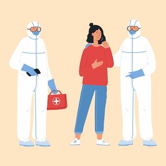 Koncepcja choroby epidemicznej. lekarze w stroju ochronnym i kaszel młodej kobiety.