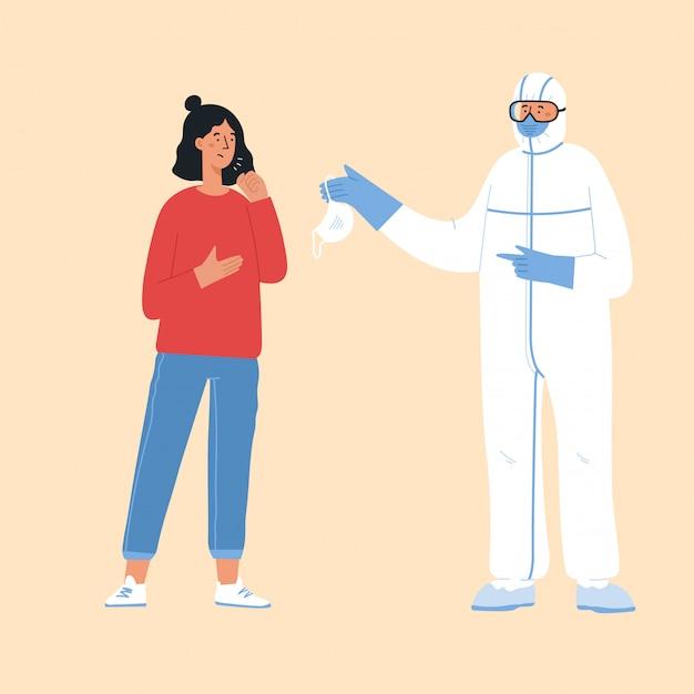Koncepcja choroby epidemicznej. wirus koronowy i osoby noszące ochronne maski na twarz.