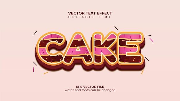 Koncepcja ciasta efekt tekstu wektorowego z posypką